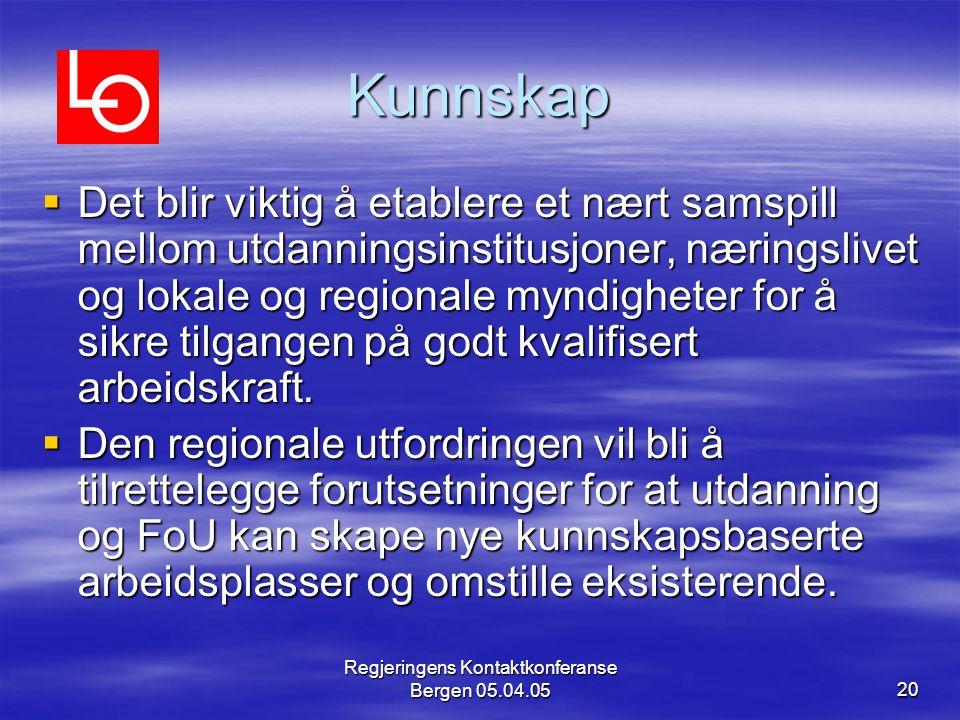 Regjeringens Kontaktkonferanse Bergen 05.04.0520 Kunnskap  Det blir viktig å etablere et nært samspill mellom utdanningsinstitusjoner, næringslivet og lokale og regionale myndigheter for å sikre tilgangen på godt kvalifisert arbeidskraft.