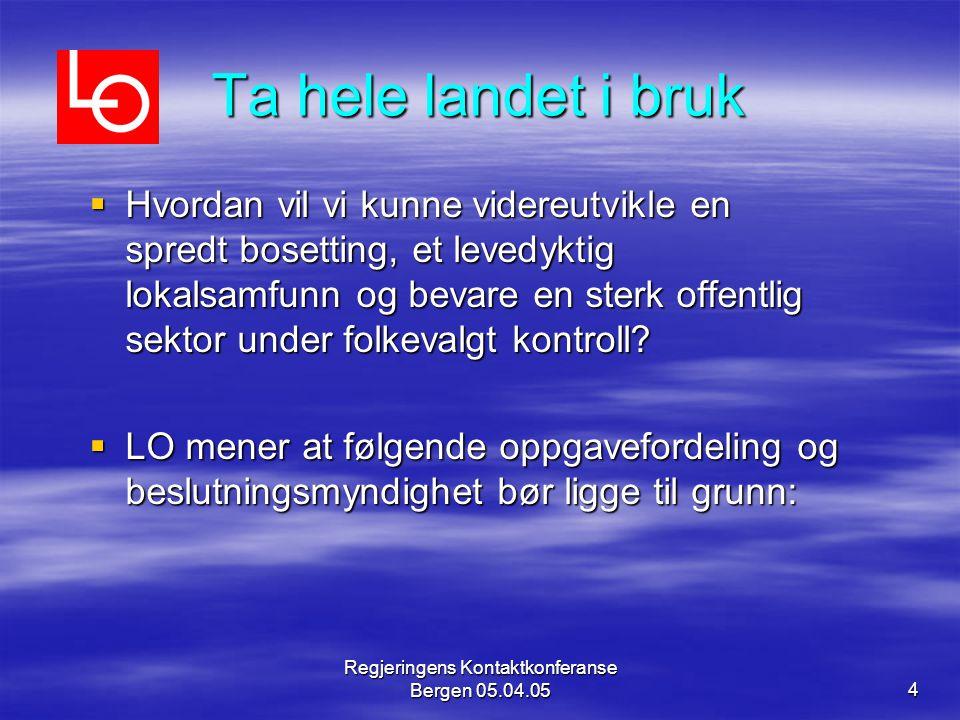 Regjeringens Kontaktkonferanse Bergen 05.04.054 Ta hele landet i bruk  Hvordan vil vi kunne videreutvikle en spredt bosetting, et levedyktig lokalsam