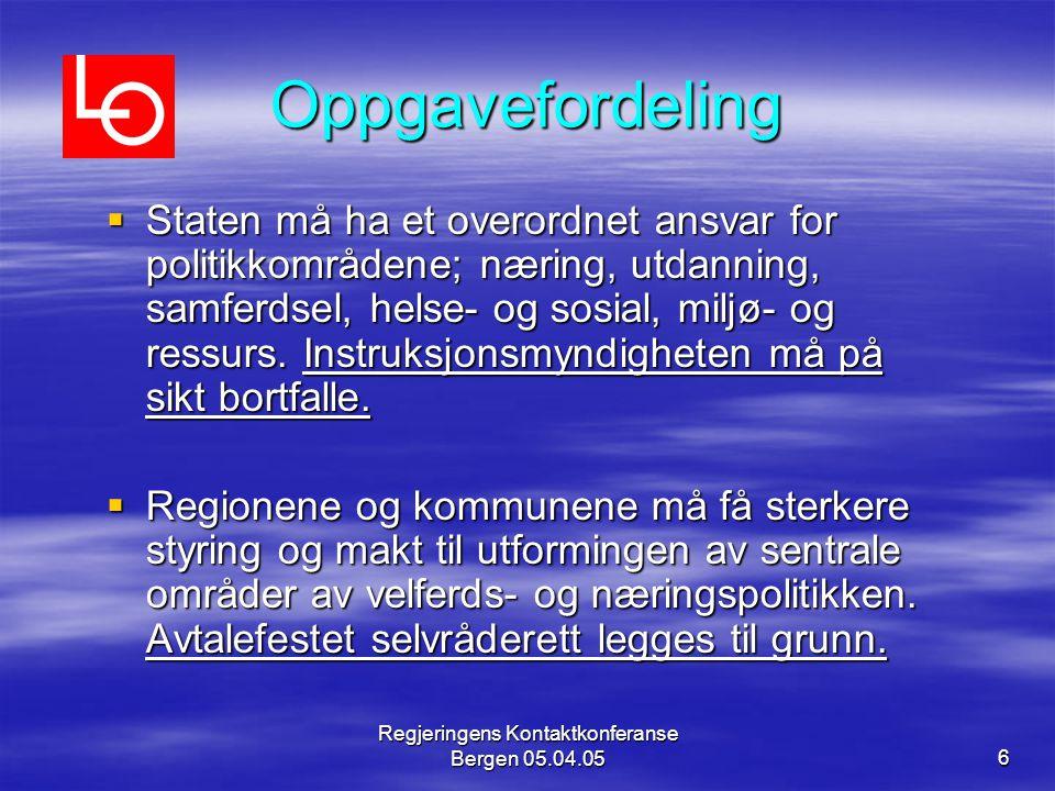 Regjeringens Kontaktkonferanse Bergen 05.04.056 Oppgavefordeling  Staten må ha et overordnet ansvar for politikkområdene; næring, utdanning, samferdsel, helse- og sosial, miljø- og ressurs.