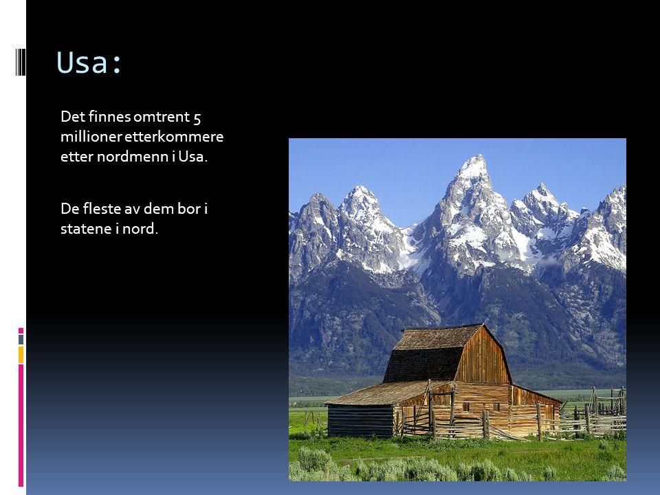 Usa: Det finnes omtrent 5 millioner etterkommere etter nordmenn i Usa. De fleste av dem bor i statene i nord.