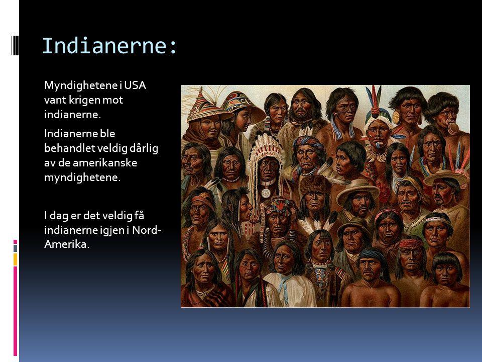 Indianerne: Myndighetene i USA vant krigen mot indianerne. Indianerne ble behandlet veldig dårlig av de amerikanske myndighetene. I dag er det veldig
