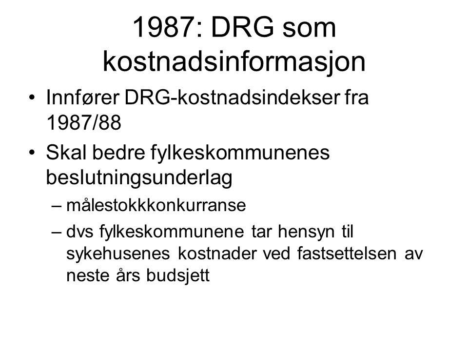 1987: DRG som kostnadsinformasjon Innfører DRG-kostnadsindekser fra 1987/88 Skal bedre fylkeskommunenes beslutningsunderlag –målestokkkonkurranse –dvs