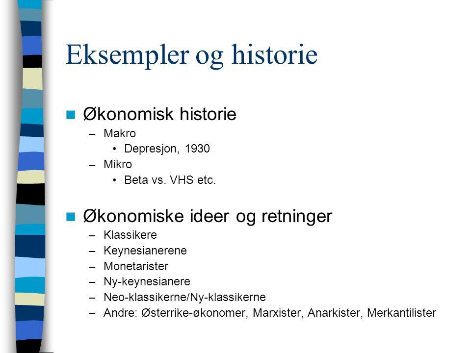 Eksempler og historie Økonomisk historie –Makro Depresjon, 1930 –Mikro Beta vs. VHS etc. Økonomiske ideer og retninger –Klassikere –Keynesianerene –Mo