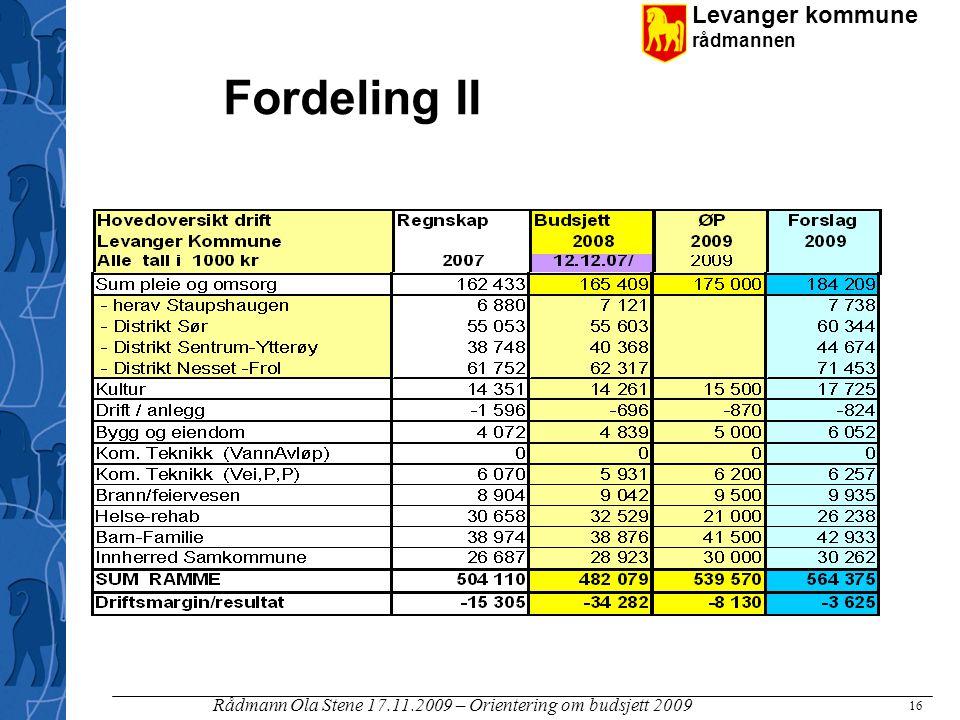 Levanger kommune rådmannen Rådmann Ola Stene 17.11.2009 – Orientering om budsjett 2009 16 Fordeling II