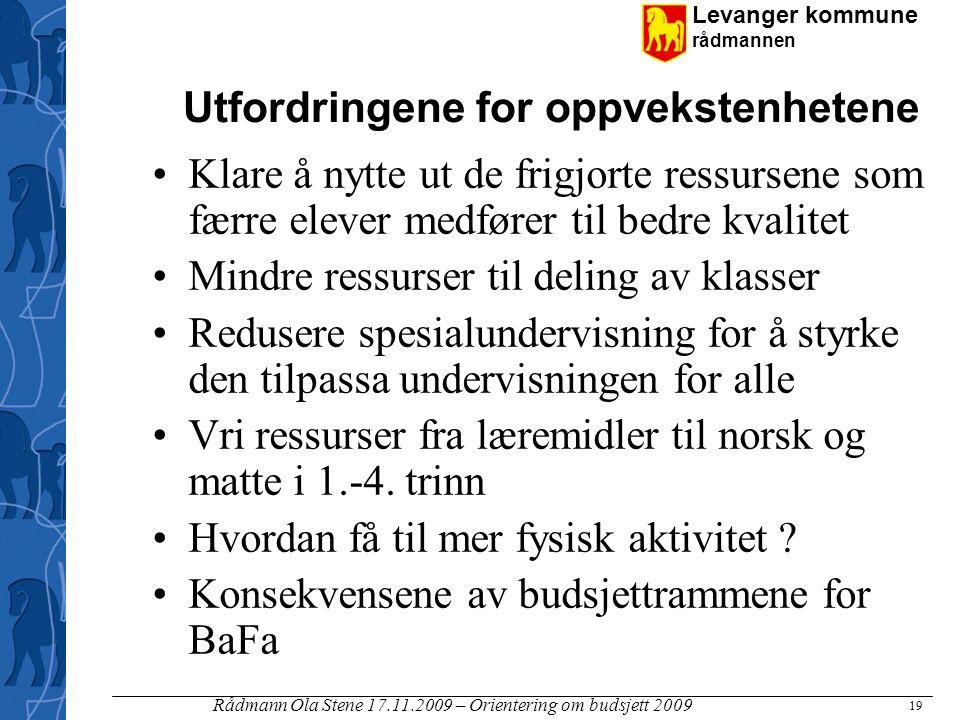 Levanger kommune rådmannen Rådmann Ola Stene 17.11.2009 – Orientering om budsjett 2009 19 Utfordringene for oppvekstenhetene Klare å nytte ut de frigj
