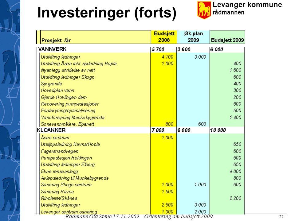 Levanger kommune rådmannen Rådmann Ola Stene 17.11.2009 – Orientering om budsjett 2009 27 Investeringer (forts)