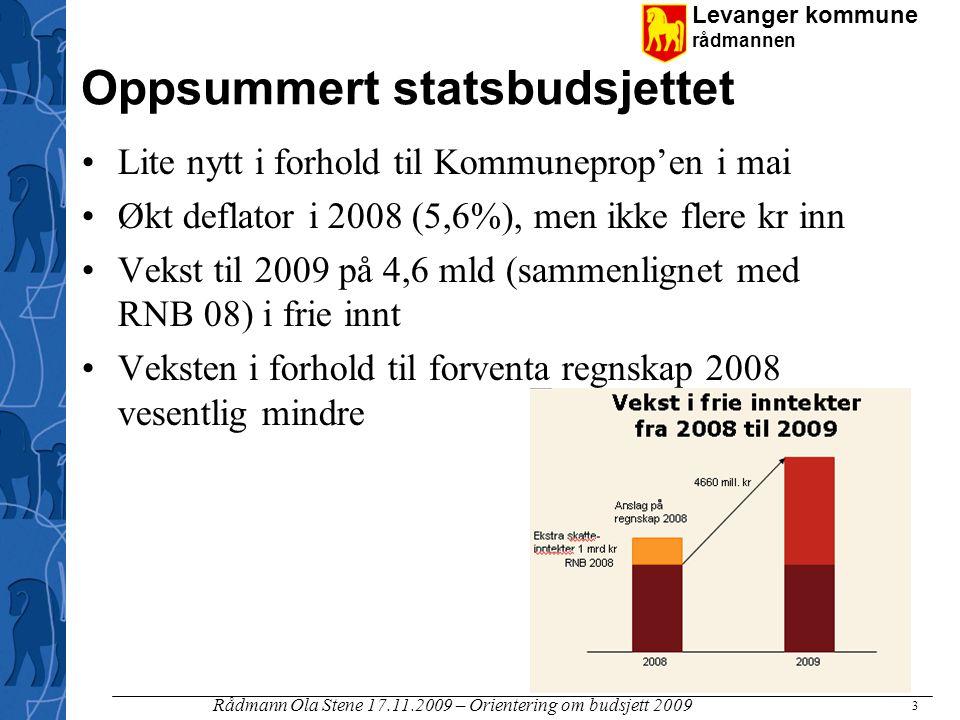 Levanger kommune rådmannen Rådmann Ola Stene 17.11.2009 – Orientering om budsjett 2009 3 Oppsummert statsbudsjettet Lite nytt i forhold til Kommunepro