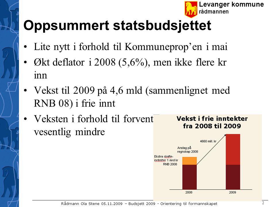 Levanger kommune rådmannen Rådmann Ola Stene 05.11.2009 – Budsjett 2009 - Orientering til formannskapet 2 Oppsummert statsbudsjettet Lite nytt i forhold til Kommuneprop'en i mai Økt deflator i 2008 (5,6%), men ikke flere kr inn Vekst til 2009 på 4,6 mld (sammenlignet med RNB 08) i frie innt Veksten i forhold til forventa regnskap 2008 vesentlig mindre