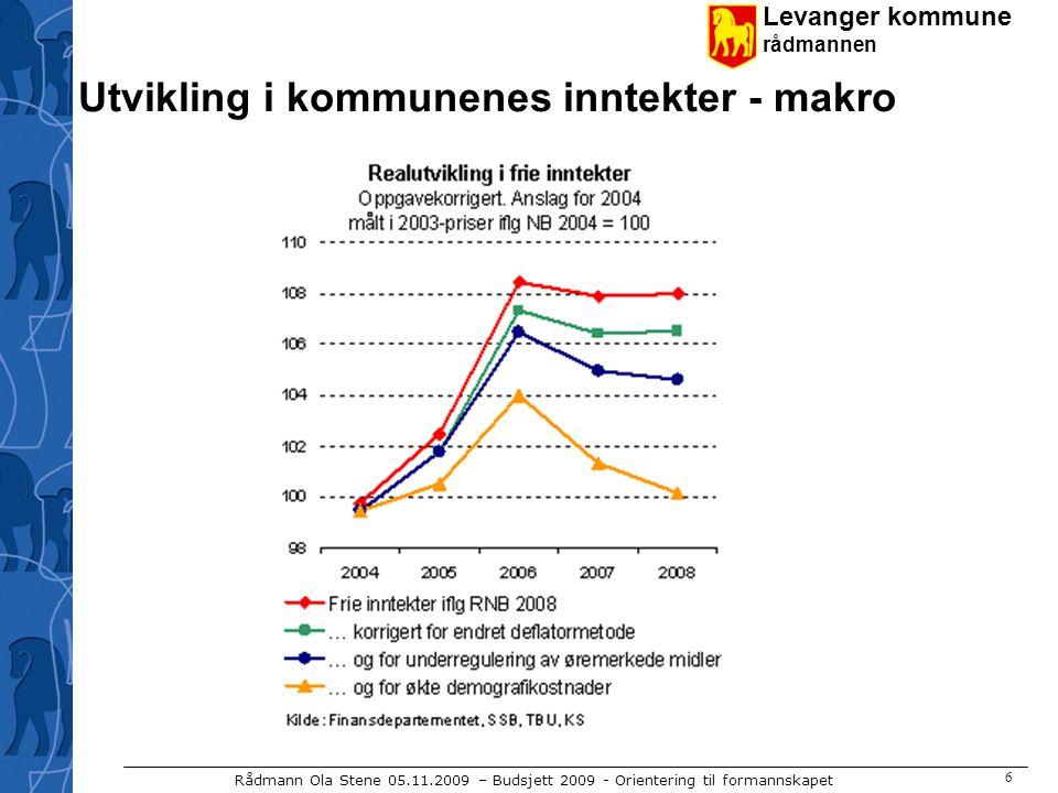 Levanger kommune rådmannen Rådmann Ola Stene 05.11.2009 – Budsjett 2009 - Orientering til formannskapet 7 Inntektssystemet for kommunene Innbyggertilskudd (ca 9000 kr) - korrigeres for utgiftsutjevnende tilskudd Inntektsutjevnende tilskudd Nord- Nor- ges- tilsk.