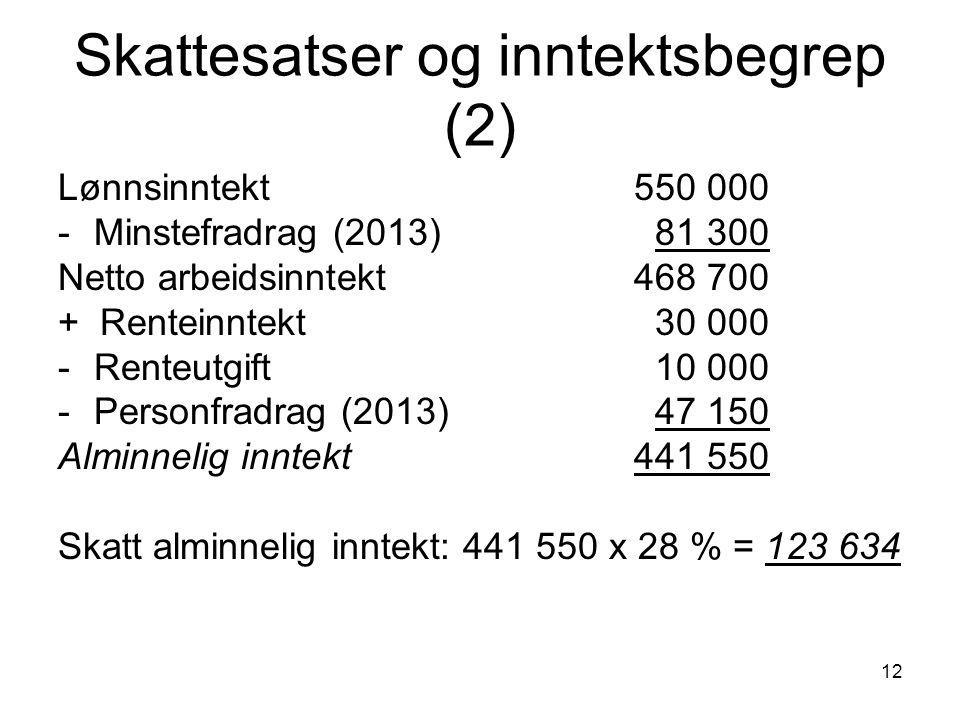 12 Skattesatser og inntektsbegrep (2) Lønnsinntekt 550 000 -Minstefradrag (2013) 81 300 Netto arbeidsinntekt 468 700 + Renteinntekt 30 000 -Renteutgif