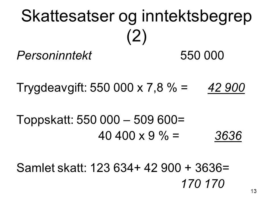 13 Skattesatser og inntektsbegrep (2) Personinntekt550 000 Trygdeavgift: 550 000 x 7,8 % = 42 900 Toppskatt: 550 000 – 509 600= 40 400 x 9 % = 3636 Sa