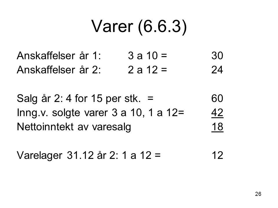 26 Varer (6.6.3) Anskaffelser år 1: 3 a 10 =30 Anskaffelser år 2: 2 a 12 = 24 Salg år 2: 4 for 15 per stk. =60 Inng.v. solgte varer 3 a 10, 1 a 12= 42