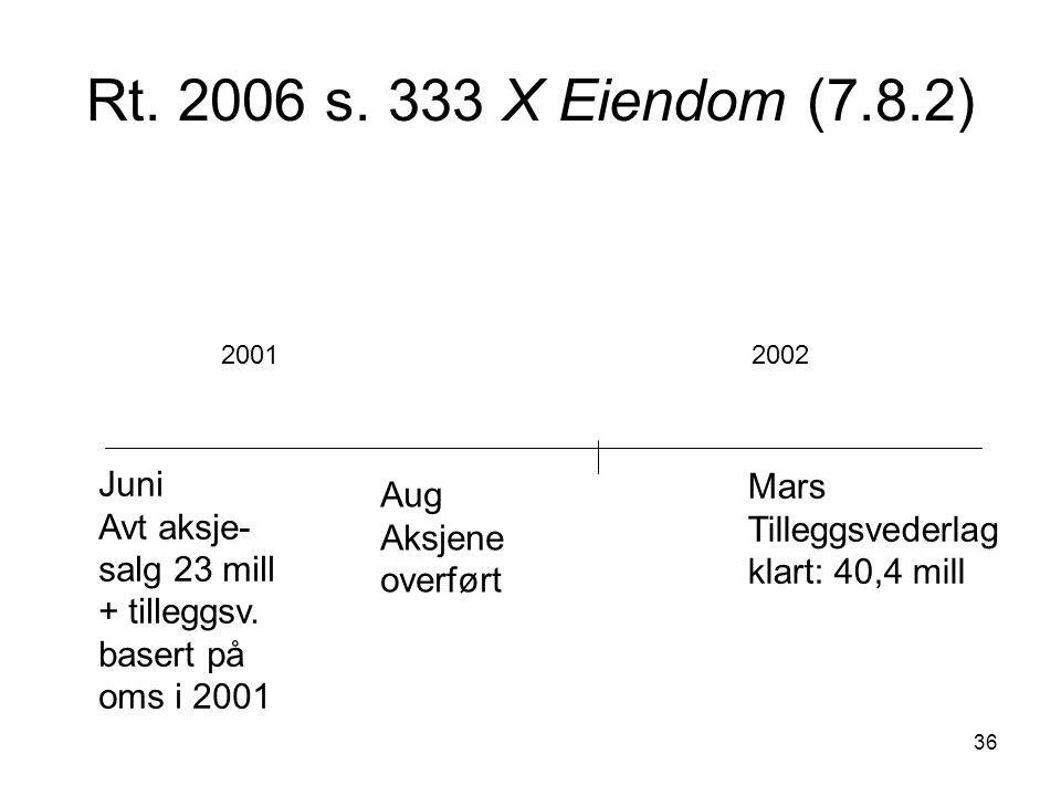 36 Rt. 2006 s. 333 X Eiendom (7.8.2) Juni Avt aksje- salg 23 mill + tilleggsv. basert på oms i 2001 20012002 Aug Aksjene overført Mars Tilleggsvederla