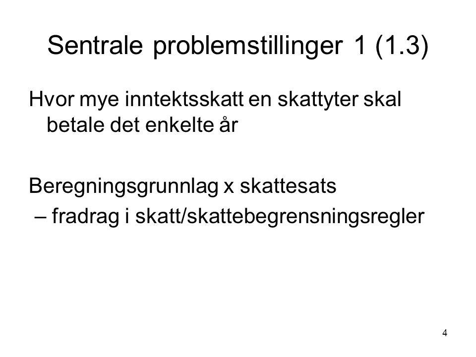 5 Sentrale problemstillinger 2 (1.3) Beregningsgrunnlaget: Bruttoinntekter Fradrag Tidfesting Tilordning Hvem er skattesubjekt.