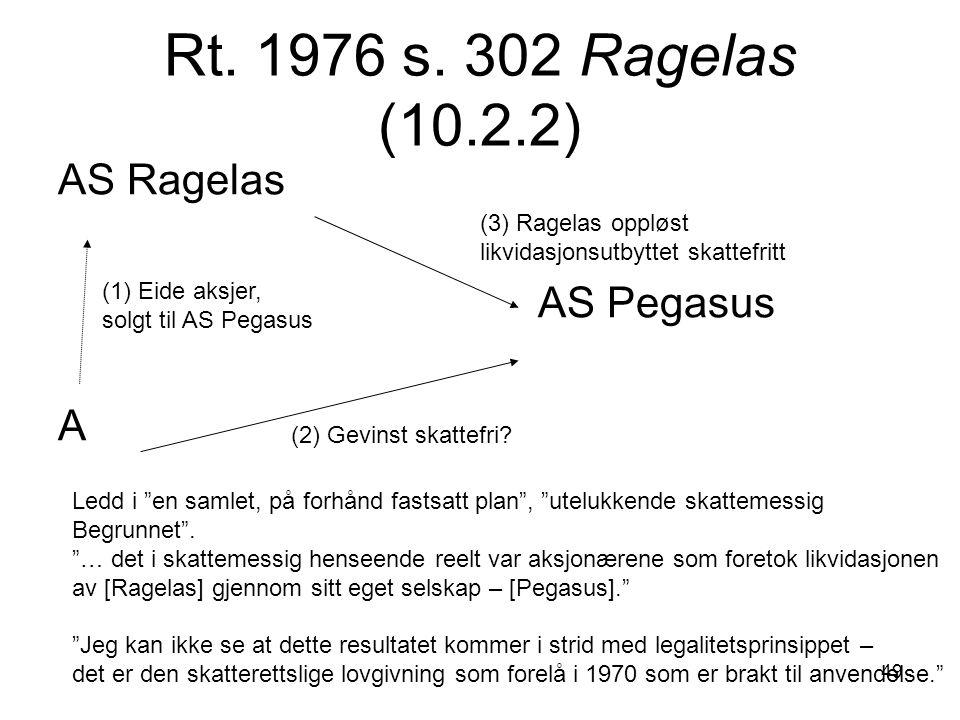 49 Rt. 1976 s. 302 Ragelas (10.2.2) AS Ragelas AS Pegasus A (1) Eide aksjer, solgt til AS Pegasus (2) Gevinst skattefri? (3) Ragelas oppløst likvidasj
