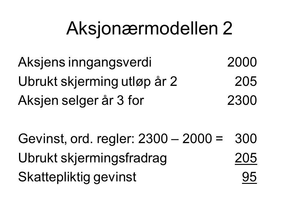 Aksjonærmodellen 2 Aksjens inngangsverdi2000 Ubrukt skjerming utløp år 2 205 Aksjen selger år 3 for 2300 Gevinst, ord. regler: 2300 – 2000 = 300 Ubruk