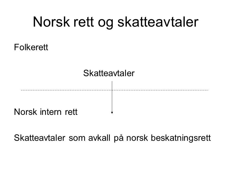 Norsk rett og skatteavtaler Folkerett Skatteavtaler Norsk intern rett Skatteavtaler som avkall på norsk beskatningsrett