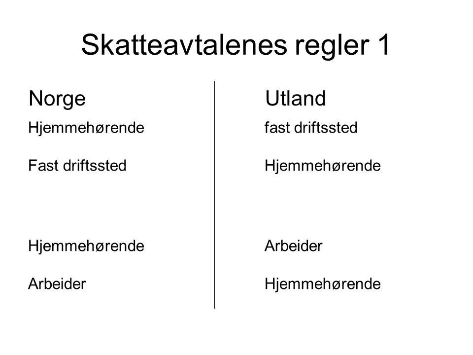 Skatteavtalenes regler 1 NorgeUtland Hjemmehørendefast driftssted Fast driftsstedHjemmehørende HjemmehørendeArbeider ArbeiderHjemmehørende