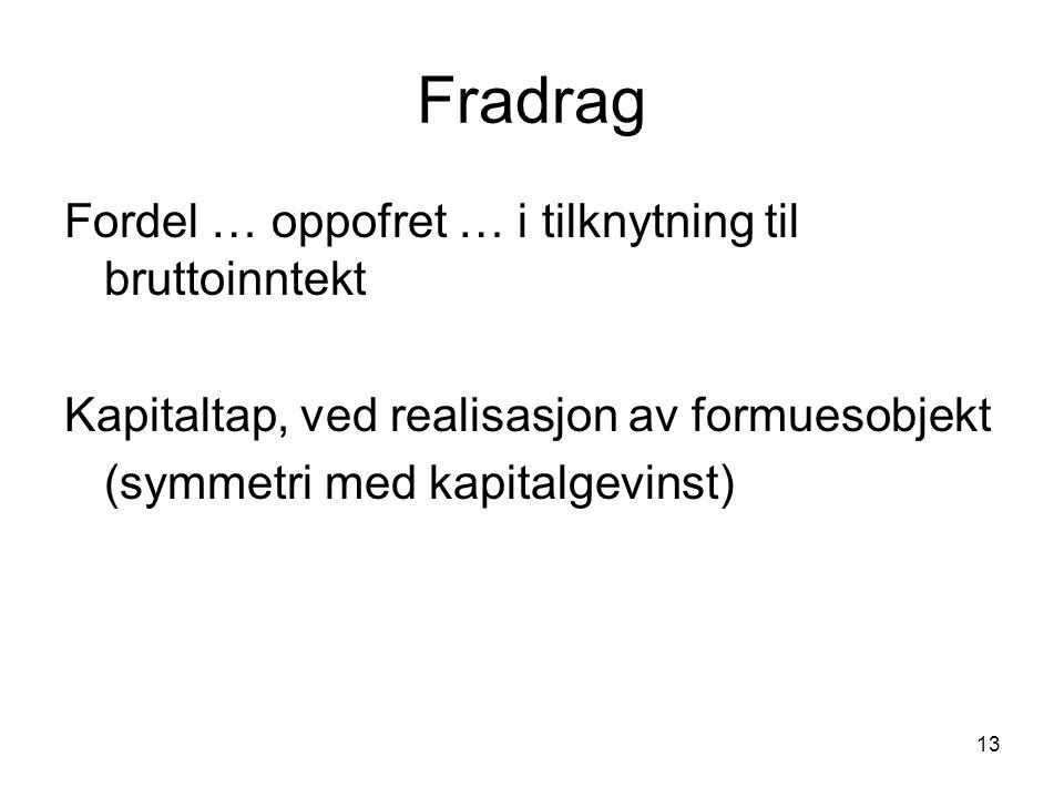 13 Fradrag Fordel … oppofret … i tilknytning til bruttoinntekt Kapitaltap, ved realisasjon av formuesobjekt (symmetri med kapitalgevinst)