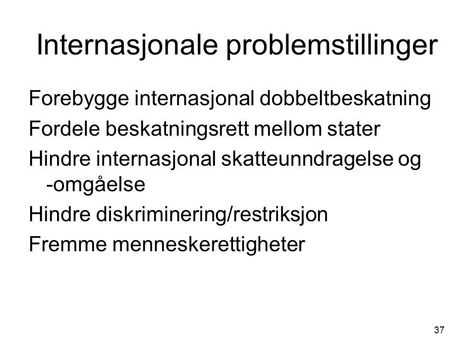 37 Internasjonale problemstillinger Forebygge internasjonal dobbeltbeskatning Fordele beskatningsrett mellom stater Hindre internasjonal skatteunndrag