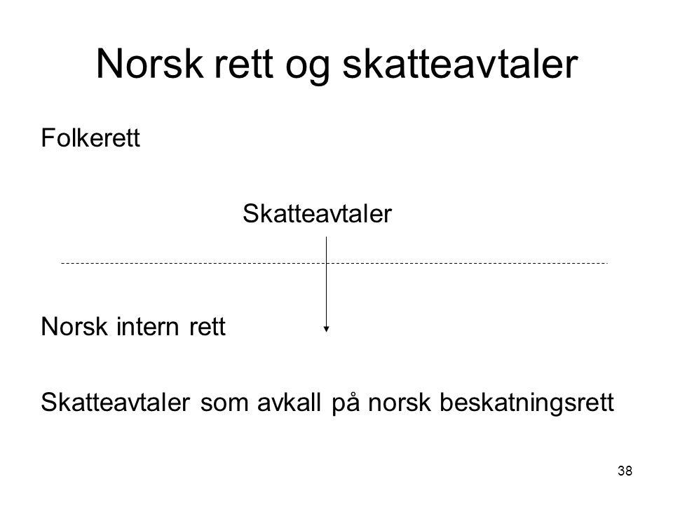 38 Norsk rett og skatteavtaler Folkerett Skatteavtaler Norsk intern rett Skatteavtaler som avkall på norsk beskatningsrett