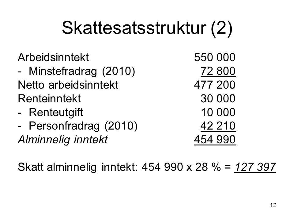 12 Skattesatsstruktur (2) Arbeidsinntekt 550 000 -Minstefradrag (2010) 72 800 Netto arbeidsinntekt 477 200 Renteinntekt 30 000 -Renteutgift 10 000 -Pe