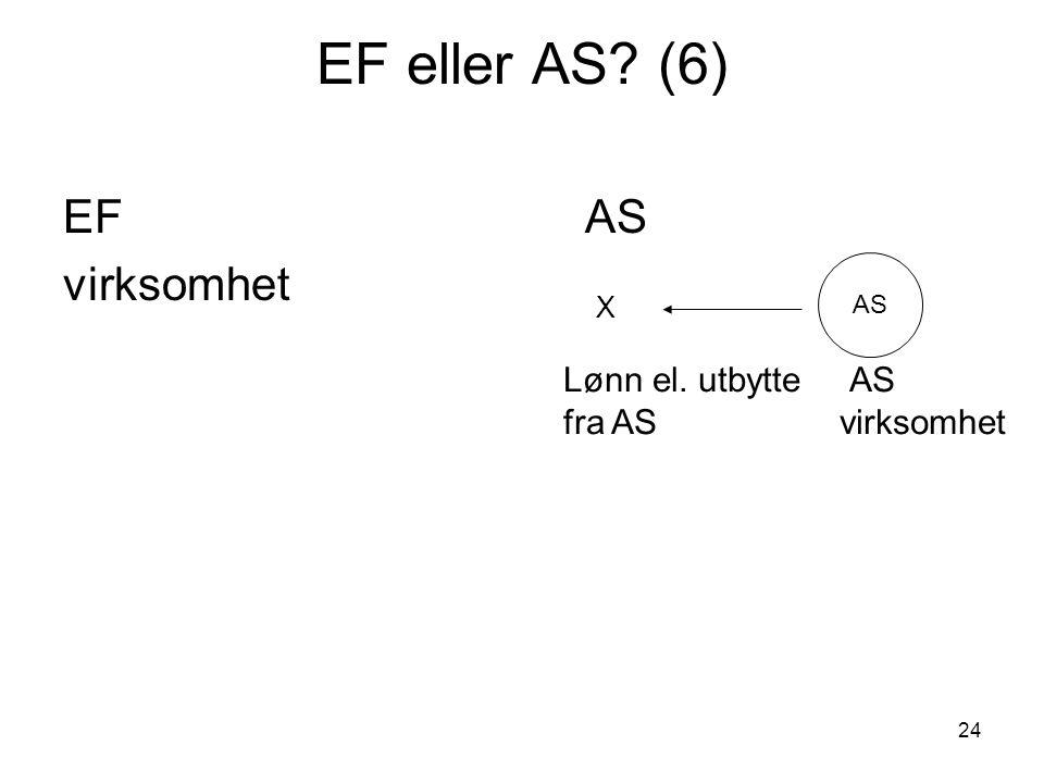 24 EF eller AS? (6) EFAS virksomhet AS X Lønn el. utbytte AS fra AS virksomhet