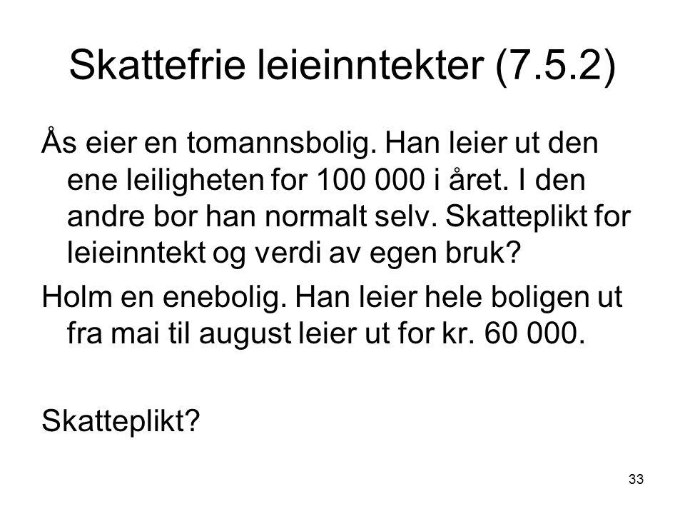 33 Skattefrie leieinntekter (7.5.2) Ås eier en tomannsbolig. Han leier ut den ene leiligheten for 100 000 i året. I den andre bor han normalt selv. Sk