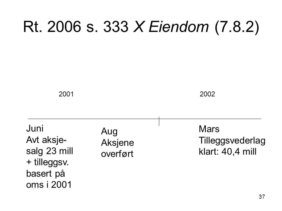 37 Rt. 2006 s. 333 X Eiendom (7.8.2) Juni Avt aksje- salg 23 mill + tilleggsv. basert på oms i 2001 20012002 Aug Aksjene overført Mars Tilleggsvederla