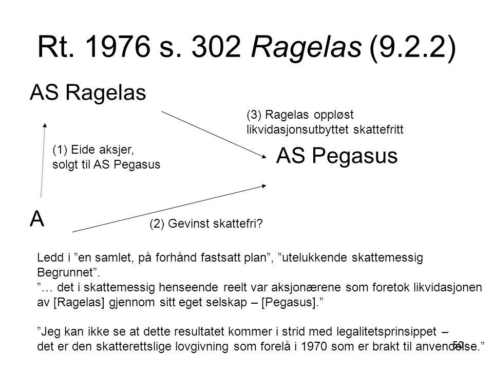 50 Rt. 1976 s. 302 Ragelas (9.2.2) AS Ragelas AS Pegasus A (1) Eide aksjer, solgt til AS Pegasus (2) Gevinst skattefri? (3) Ragelas oppløst likvidasjo