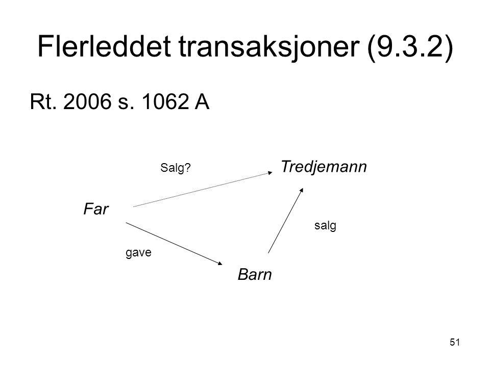 51 Flerleddet transaksjoner (9.3.2) Rt. 2006 s. 1062 A Far Barn Tredjemann gave salg Salg?