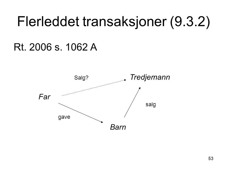 53 Flerleddet transaksjoner (9.3.2) Rt. 2006 s. 1062 A Far Barn Tredjemann gave salg Salg?
