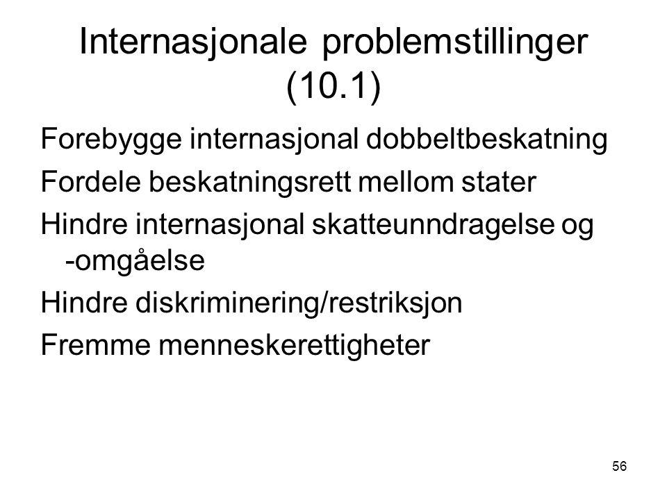 56 Internasjonale problemstillinger (10.1) Forebygge internasjonal dobbeltbeskatning Fordele beskatningsrett mellom stater Hindre internasjonal skatteunndragelse og -omgåelse Hindre diskriminering/restriksjon Fremme menneskerettigheter