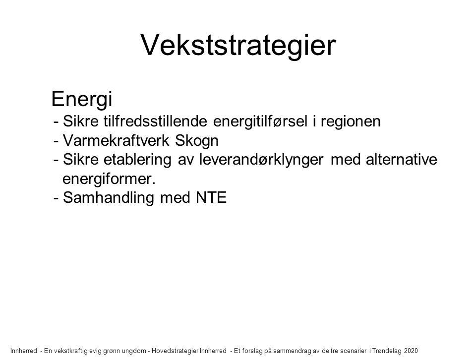 Innherred - En vekstkraftig evig grønn ungdom - Hovedstrategier Innherred - Et forslag på sammendrag av de tre scenarier i Trøndelag 2020 Vekststrategier Primærnæring - Løfte fram Innherredslandbruket.