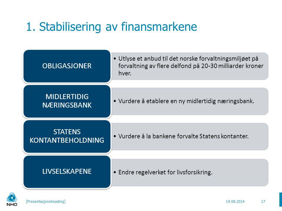1. Stabilisering av finansmarkene Utlyse et anbud til det norske forvaltningsmiljøet på forvaltning av flere delfond på 20-30 milliarder kroner hver.