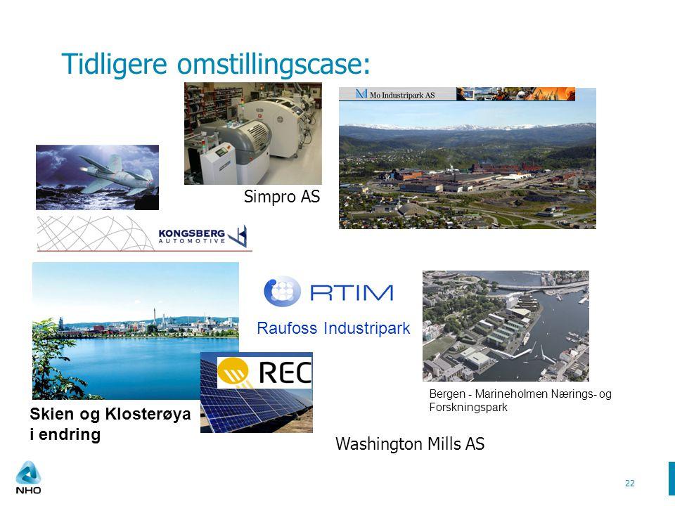 Tidligere omstillingscase: 22 Raufoss Industripark Skien og Klosterøya i endring Bergen - Marineholmen Nærings- og Forskningspark Washington Mills AS Simpro AS