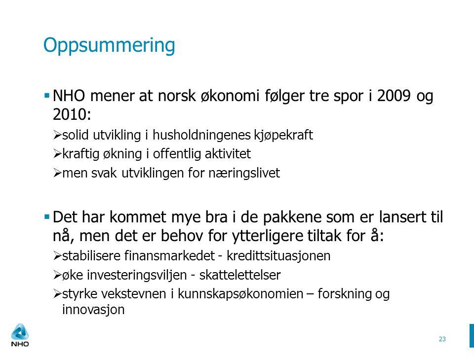 Oppsummering  NHO mener at norsk økonomi følger tre spor i 2009 og 2010:  solid utvikling i husholdningenes kjøpekraft  kraftig økning i offentlig aktivitet  men svak utviklingen for næringslivet  Det har kommet mye bra i de pakkene som er lansert til nå, men det er behov for ytterligere tiltak for å:  stabilisere finansmarkedet - kredittsituasjonen  øke investeringsviljen - skattelettelser  styrke vekstevnen i kunnskapsøkonomien – forskning og innovasjon 23
