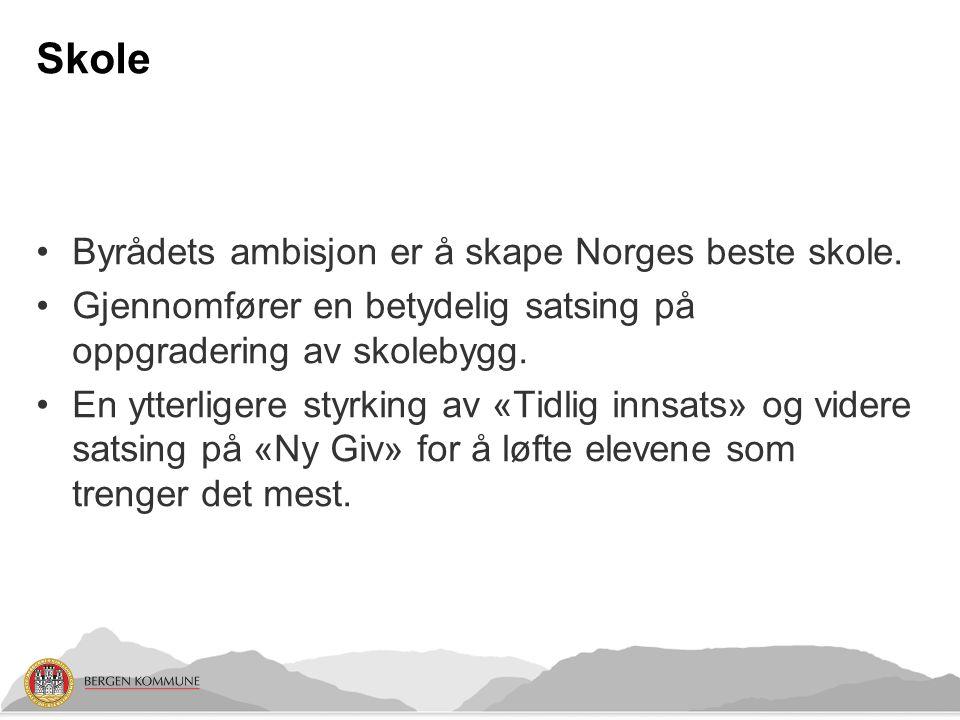 Skole Byrådets ambisjon er å skape Norges beste skole.
