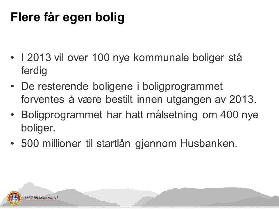 Flere får egen bolig I 2013 vil over 100 nye kommunale boliger stå ferdig De resterende boligene i boligprogrammet forventes å være bestilt innen utgangen av 2013.