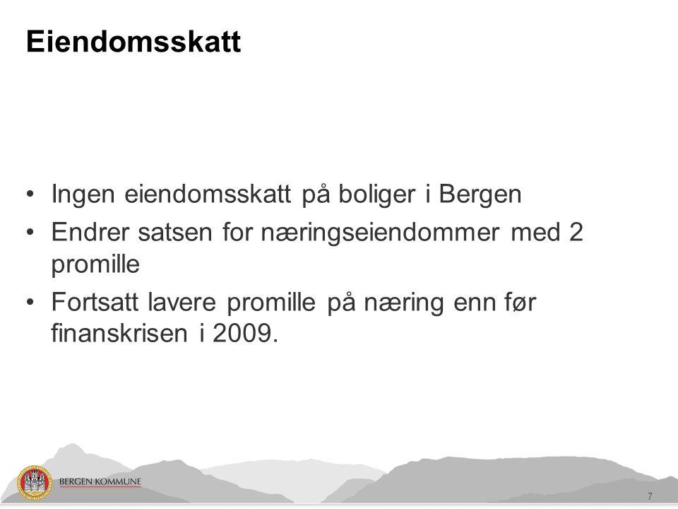 Eiendomsskatt Ingen eiendomsskatt på boliger i Bergen Endrer satsen for næringseiendommer med 2 promille Fortsatt lavere promille på næring enn før finanskrisen i 2009.
