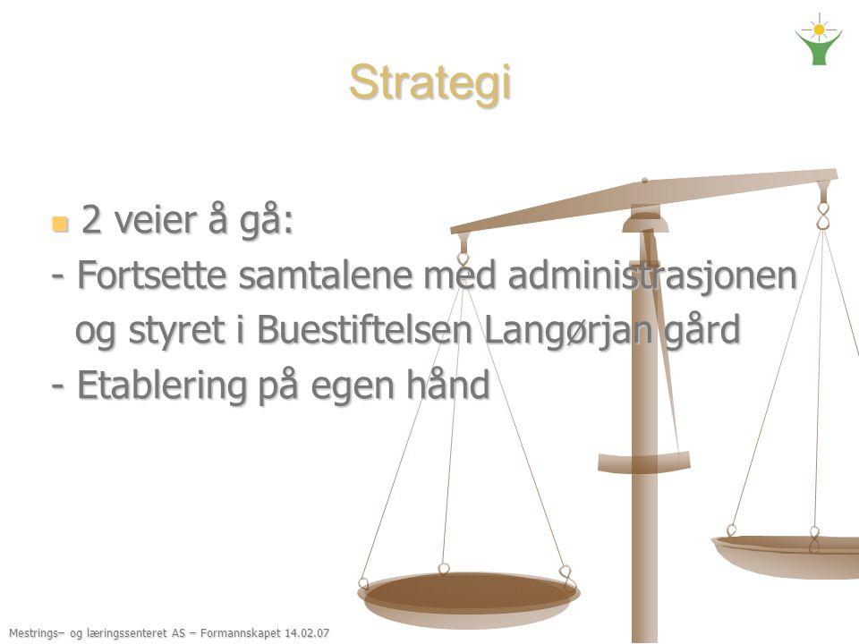 Mestrings– og læringssenteret AS – Formannskapet 14.02.07 Strategi 2 veier å gå: 2 veier å gå: - Fortsette samtalene med administrasjonen og styret i
