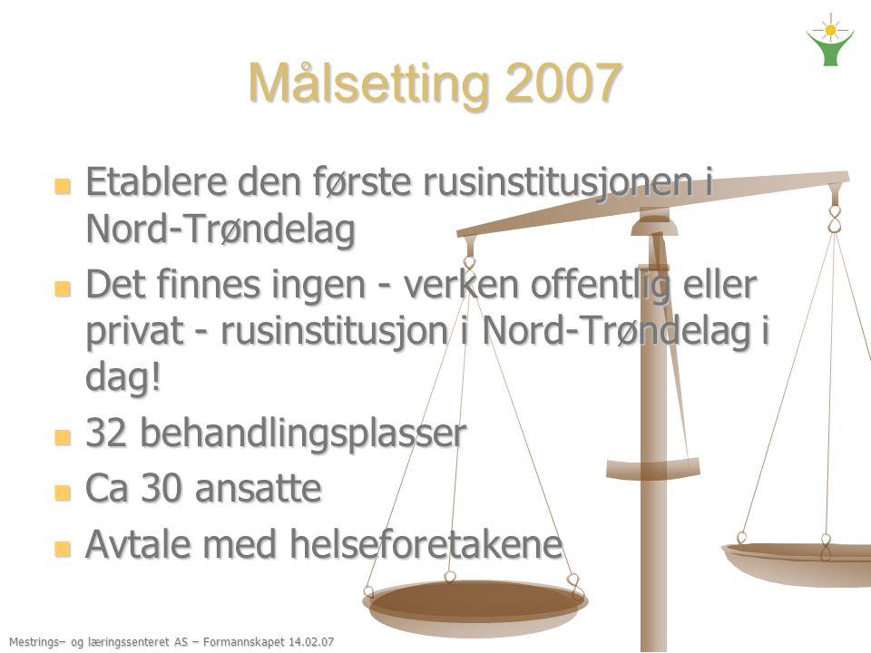 Målsetting 2007 Etablere den første rusinstitusjonen i Nord-Trøndelag Etablere den første rusinstitusjonen i Nord-Trøndelag Det finnes ingen - verken offentlig eller privat - rusinstitusjon i Nord-Trøndelag i dag.