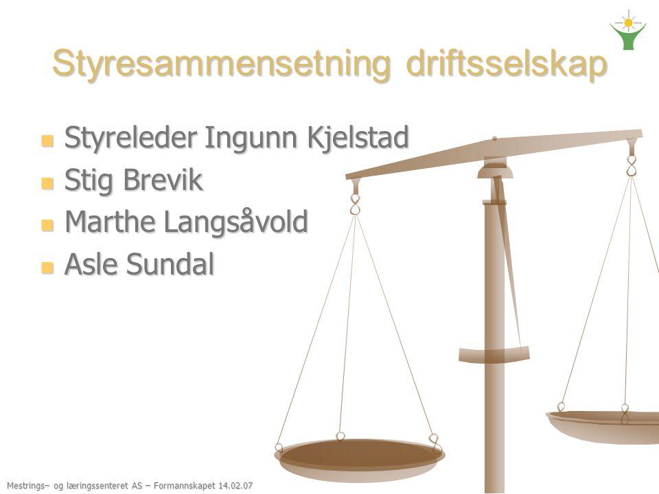 Mestrings– og læringssenteret AS – Formannskapet 14.02.07 Styresammensetning driftsselskap Styreleder Ingunn Kjelstad Styreleder Ingunn Kjelstad Stig
