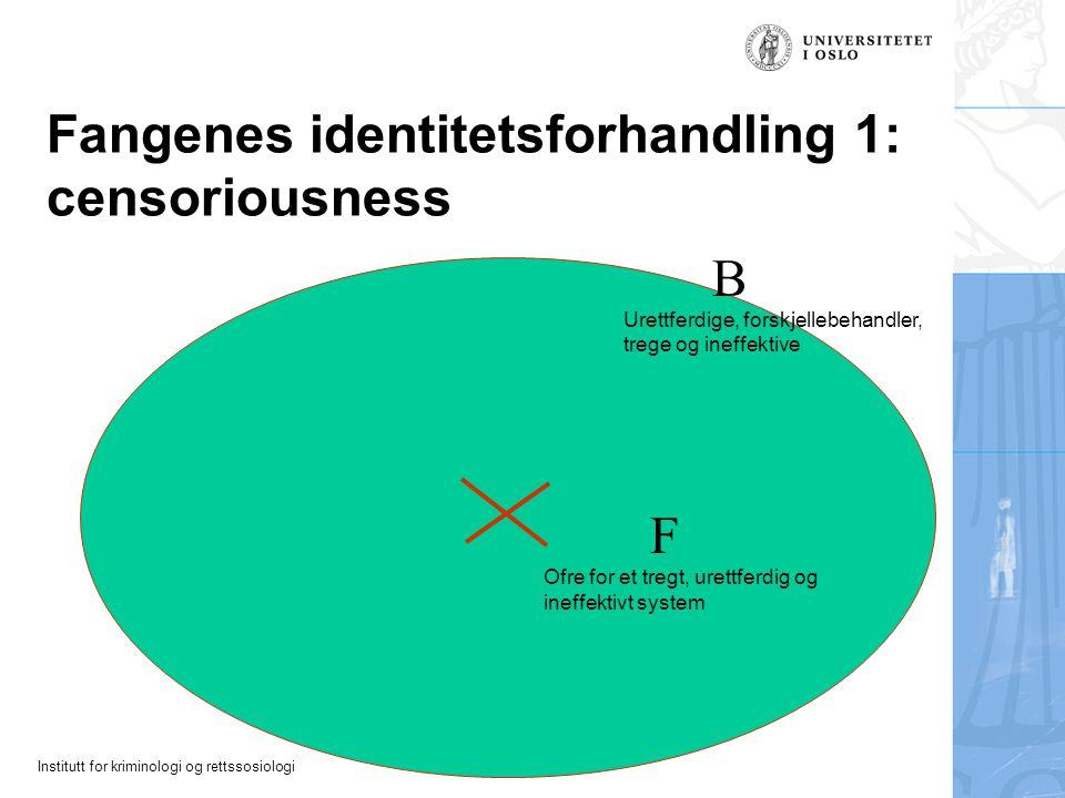 Institutt for kriminologi og rettssosiologi Fangenes identitetsforhandling 1: censoriousness Ofre for et tregt, urettferdig og ineffektivt system F Ur