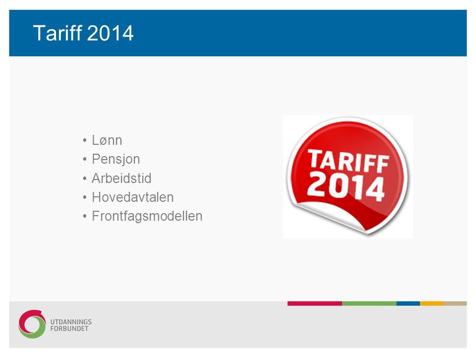Tariff 2014 Lønn Pensjon Arbeidstid Hovedavtalen Frontfagsmodellen