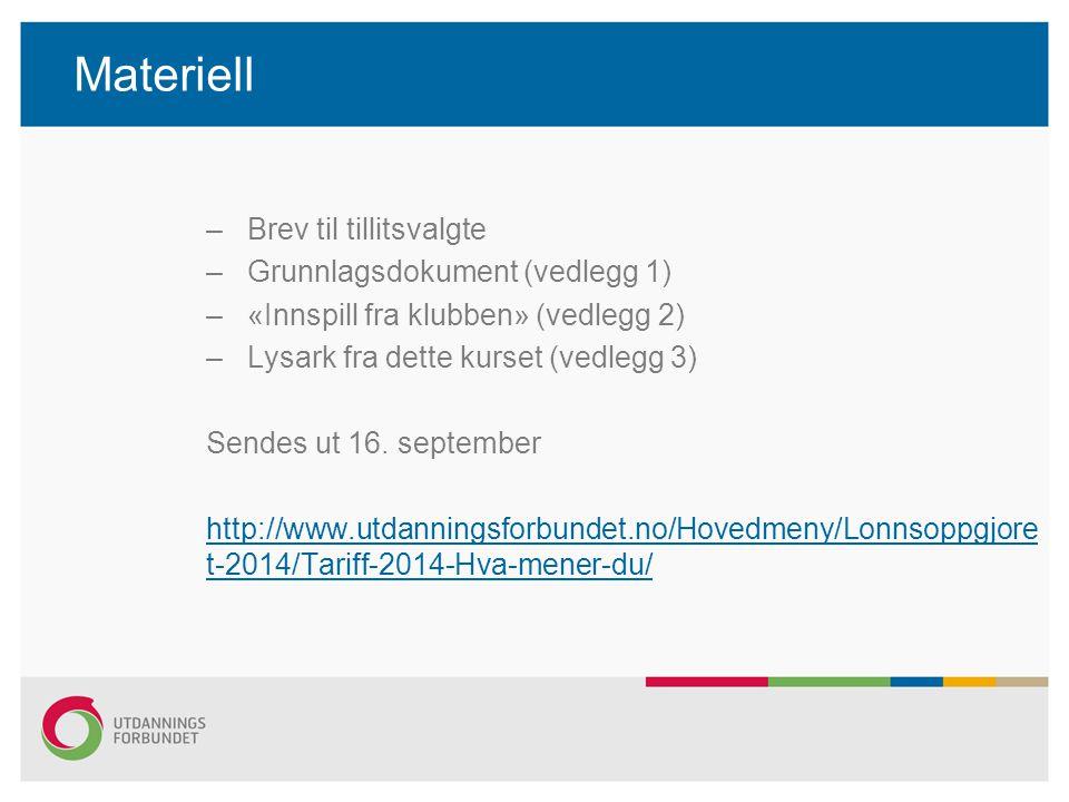 Materiell –Brev til tillitsvalgte –Grunnlagsdokument (vedlegg 1) –«Innspill fra klubben» (vedlegg 2) –Lysark fra dette kurset (vedlegg 3) Sendes ut 16.