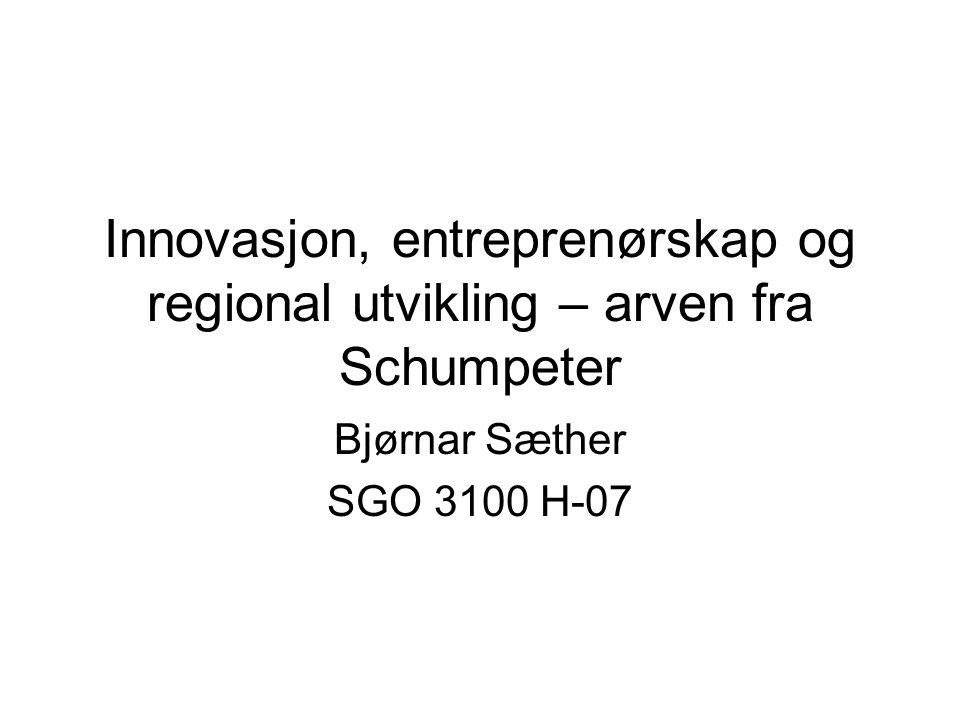 Mål for forelesningen Presentere det teoretiske grunnlaget for framveksten av forskningen på entreprenørskap og innovasjon Presentere hovedpunkter i teorien om teknologiske paradigmer