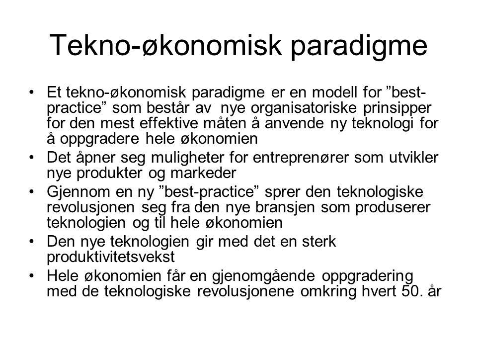 """Tekno-økonomisk paradigme Et tekno-økonomisk paradigme er en modell for """"best- practice"""" som består av nye organisatoriske prinsipper for den mest eff"""