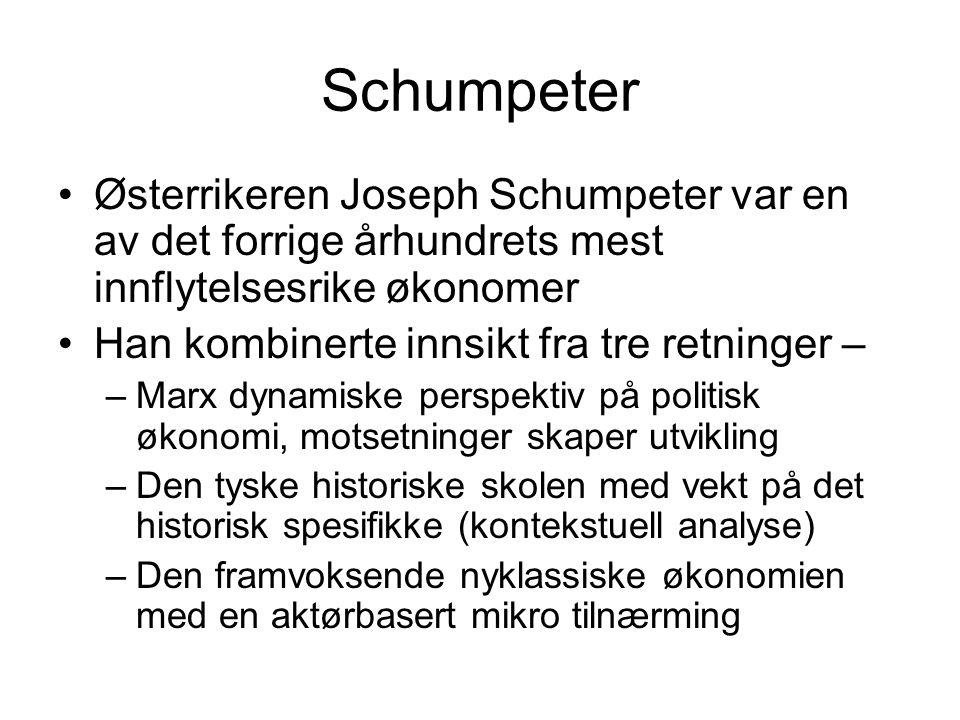 Schumpeter Østerrikeren Joseph Schumpeter var en av det forrige århundrets mest innflytelsesrike økonomer Han kombinerte innsikt fra tre retninger – –