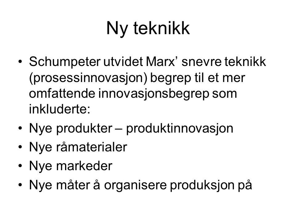 Ny teknikk Schumpeter utvidet Marx' snevre teknikk (prosessinnovasjon) begrep til et mer omfattende innovasjonsbegrep som inkluderte: Nye produkter –